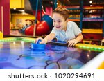 joyful little boy playing air... | Shutterstock . vector #1020294691