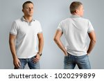 slim man in the white polo... | Shutterstock . vector #1020299899