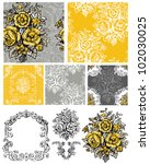 vector floral repeat patterns... | Shutterstock .eps vector #102030025