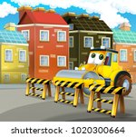 cartoon road roller truck in... | Shutterstock . vector #1020300664