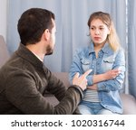 young father arguing with his... | Shutterstock . vector #1020316744