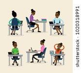 african american businesswoman... | Shutterstock .eps vector #1020318991