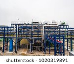 steam pipe line and blue pipe... | Shutterstock . vector #1020319891