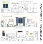 modern interiors of the kitchen ... | Shutterstock . vector #1020326929