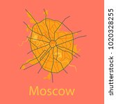 flat color map of moscow. all... | Shutterstock .eps vector #1020328255