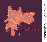 sao paulo  brazil  flat map... | Shutterstock .eps vector #1020328279