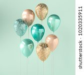 set of turquoise and golden... | Shutterstock . vector #1020335911