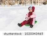 the child moves off the hill on ... | Shutterstock . vector #1020343465