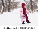 little child plays on the... | Shutterstock . vector #1020343471