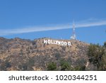 hollywood sign at los angeles... | Shutterstock . vector #1020344251