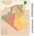 algeria   vintage map and flag  ...