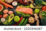 healthy food. fish salmon ...   Shutterstock . vector #1020346087