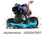 vector cartoon monster truck.... | Shutterstock .eps vector #1020347857