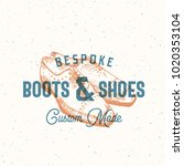 bespoke boots and shoes. retro... | Shutterstock .eps vector #1020353104
