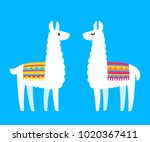 two cute cartoon llamas. south... | Shutterstock .eps vector #1020367411