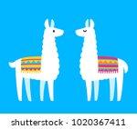 two cute cartoon llamas. south... | Shutterstock .eps vector #1020367411
