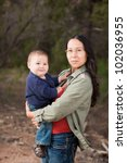 native american mother and her... | Shutterstock . vector #102036955