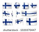 set finland flags  banners ... | Shutterstock .eps vector #1020370447