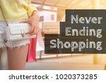 focus on asian woman opening... | Shutterstock . vector #1020373285