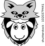 a sheep disguises itself as a... | Shutterstock .eps vector #1020379441