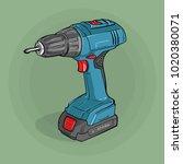 screwdriver. building electric... | Shutterstock .eps vector #1020380071