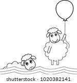 a sheep flies off with a... | Shutterstock .eps vector #1020382141
