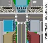 top view of downtown  3d vector ... | Shutterstock .eps vector #1020382429