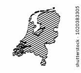 netherlands map outline graphic ... | Shutterstock .eps vector #1020383305
