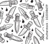 Doodle style knife background designed to be tiled.  Vector format. - stock vector
