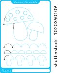fungus. preschool worksheet for ... | Shutterstock .eps vector #1020390109
