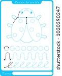 insect. preschool worksheet for ... | Shutterstock .eps vector #1020390247