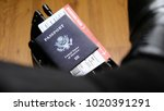 united states passport and... | Shutterstock . vector #1020391291