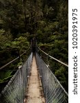 Small photo of Hiker's perspective POV walking across suspension bridge in Abel Tasman National Park near shore and waterfall in tropical forest representing the beginning of a journey and an adventure