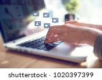 businesswoman hands using... | Shutterstock . vector #1020397399