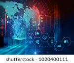 fintech icon  on abstract... | Shutterstock . vector #1020400111