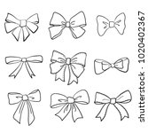 hand drawn bows collection ... | Shutterstock .eps vector #1020402367
