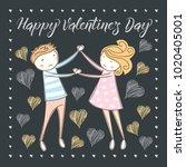 vector couple fall in love.... | Shutterstock .eps vector #1020405001
