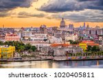 havana  cuba downtown skyline. | Shutterstock . vector #1020405811