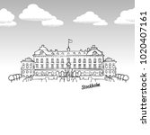 stockholm  sweden famous... | Shutterstock .eps vector #1020407161