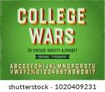 'college wars' vintage retro 3d ... | Shutterstock .eps vector #1020409231