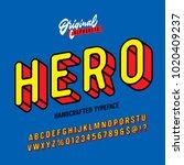 """hero"" vintage superhero... | Shutterstock .eps vector #1020409237"