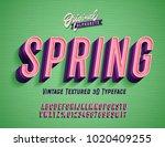 """spring"" vintage 3d premium... | Shutterstock .eps vector #1020409255"