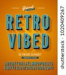 'retro vibed' vintage 3d sans... | Shutterstock .eps vector #1020409267