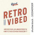 'retro vibed' vintage 3d sans... | Shutterstock .eps vector #1020409309