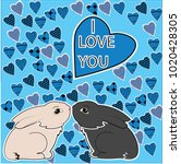two rabbits. greeting card.... | Shutterstock .eps vector #1020428305