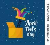 jester hat april fools day dots ... | Shutterstock .eps vector #1020429361
