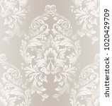baroque damask pattern vector.... | Shutterstock .eps vector #1020429709
