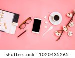 beautiful flatlay with cup of...   Shutterstock . vector #1020435265