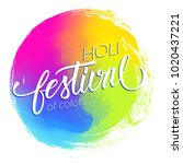 happy holi indian spring... | Shutterstock .eps vector #1020437221