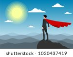 businessman in red cape... | Shutterstock .eps vector #1020437419